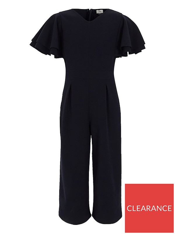 7a2ee2c7dab River Island Girls navy frill sleeve culotte jumpsuit
