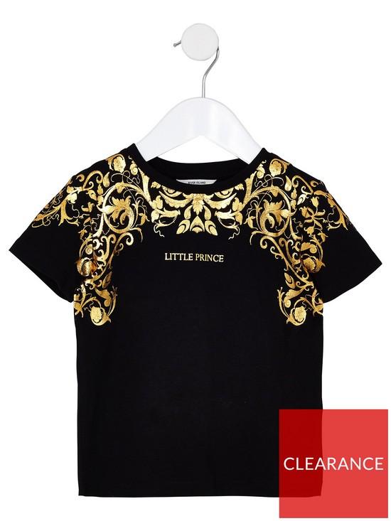 6ce915f0 River Island Mini Boys Little Prince Foil T-Shirt - Black | very.co.uk