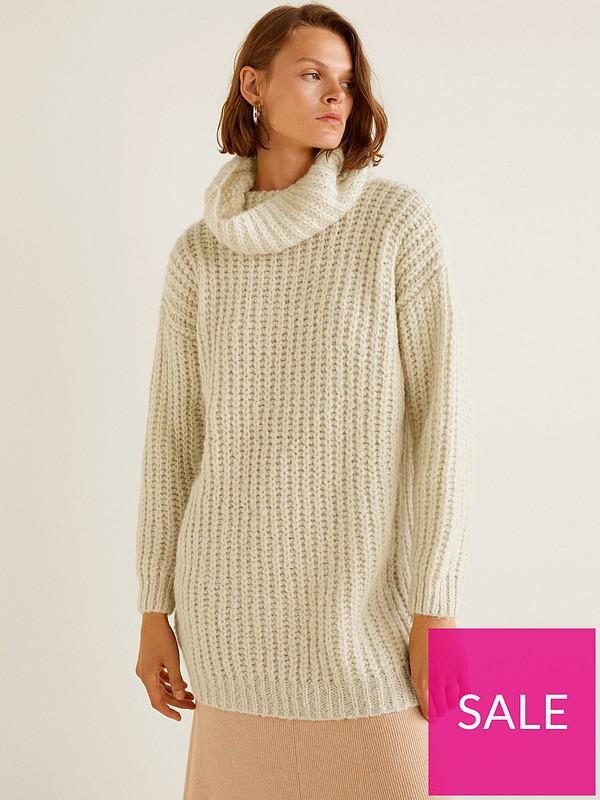 f4020fc6ed1cc8 Mango Roll Neck Knitted Jumper - Cream | very.co.uk