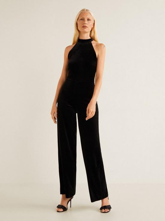 eb67531178 Mango Halter Neck Velvet Jumpsuit - Black