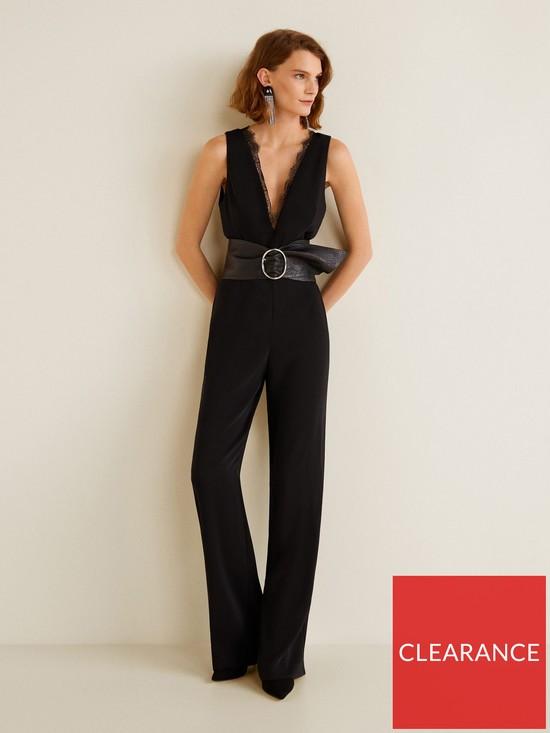 6f331a3f13 Mango V Neck Lace Jumpsuit - Black