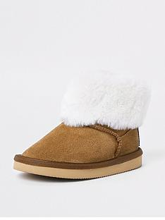 river-island-mini-girls-brown-faux-fur-ankle-boot