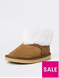 river-island-mini-girls-brown-faux-fur-ankle-boot