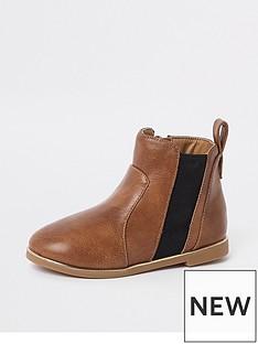 river-island-mini-girls-tan-croc-panel-patent-boots