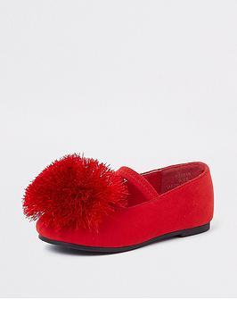 river-island-mini-girls-red-pom-pom-ballerina-pumps