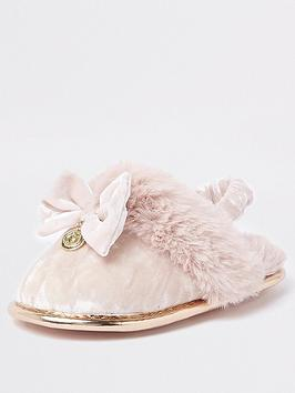 river-island-mini-mini-girls-pink-faux-fur-velvet-slippers