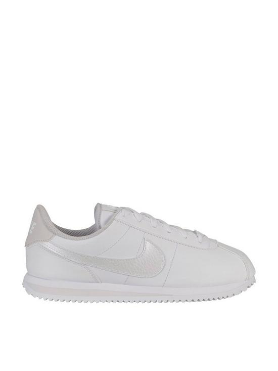 the best attitude f39ce ec969 Nike Cortez Basic Synthetic Leather Junior Trainers - White Iridescent