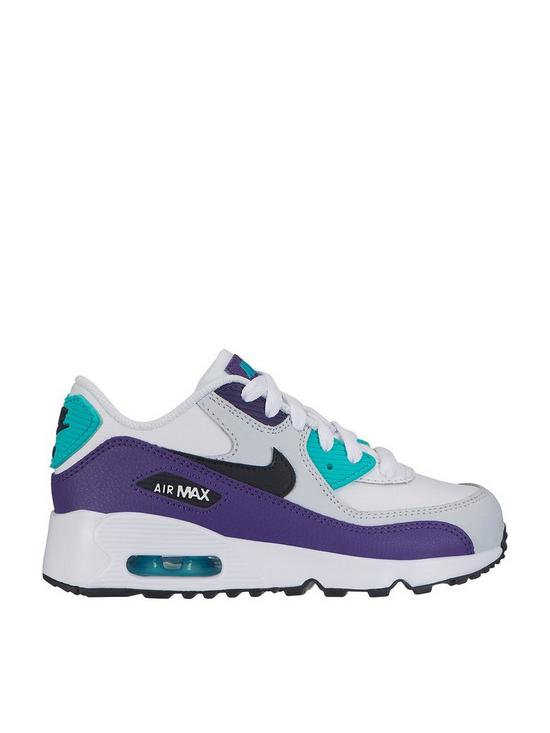 dd46d8afe0 Nike Air Max 90 Leather Childrens Trainers - White/Black/Green ...