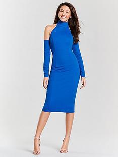 1d75905d8 Michelle Keegan Choker Cold Shoulder Pencil Dress - Electric Blue