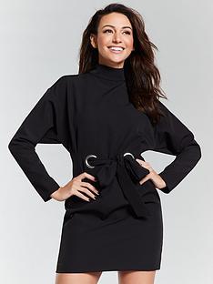 michelle-keegan-eyelet-tie-waist-tunic-dress-black