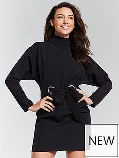 michelle-keegan-eyelet-tie-waist-tunic-dress-black