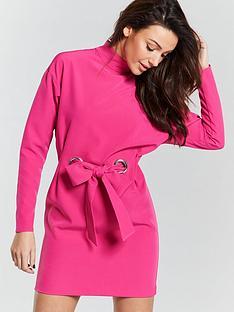 michelle-keegan-eyelet-tie-waist-tunic-dress-pink