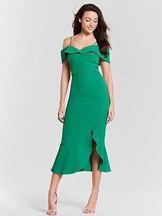 michelle-keegan-cold-shoulder-midi-dress-forest-green