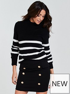 michelle-keegan-button-shoulder-stripe-knit-jumper-monochrome