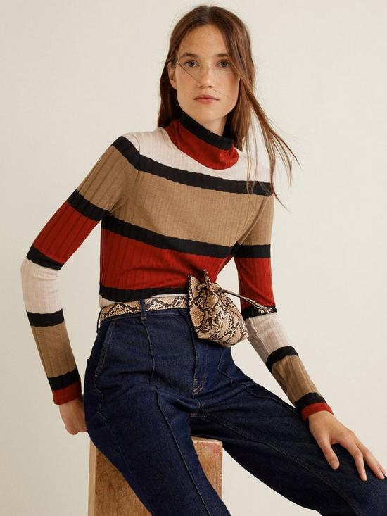01926fcecb Mango Knitted Striped Top - Brown