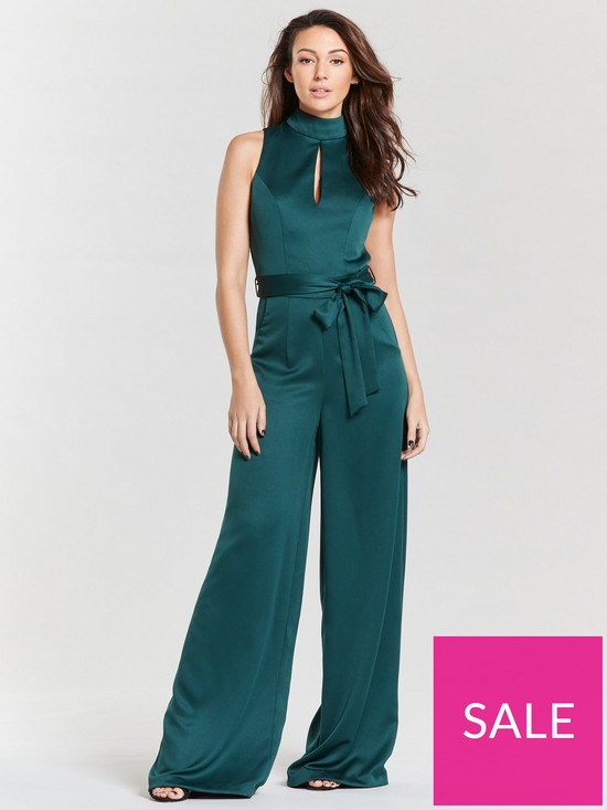 3472ab73ae737 Michelle Keegan High Neck Soft Woven Keyhole Jumpsuit - Green | very ...