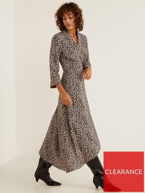 e9d0acdd2e30b6 Mango Leopard Wrap Over Dress   very.co.uk