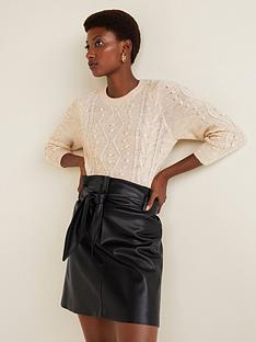 mango-pu-bow-skirt-blacknbsp
