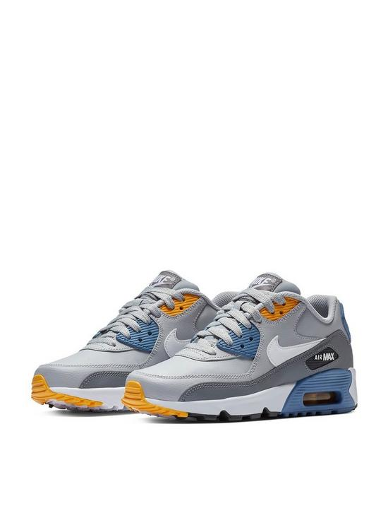 2a2c71fdbdd Nike Air Max 90 Leather Junior Trainers - Grey Blue