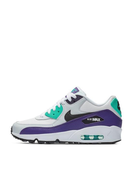 new concept ac6bf 63236 Nike Air Max 90 Leather Junior Trainers - White Black Green   very.co.uk