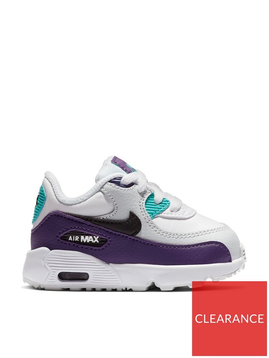 a0d5fd94b1 Nike Air Max 90 Leather Infant Trainers - White/Black/Green | very.co.uk