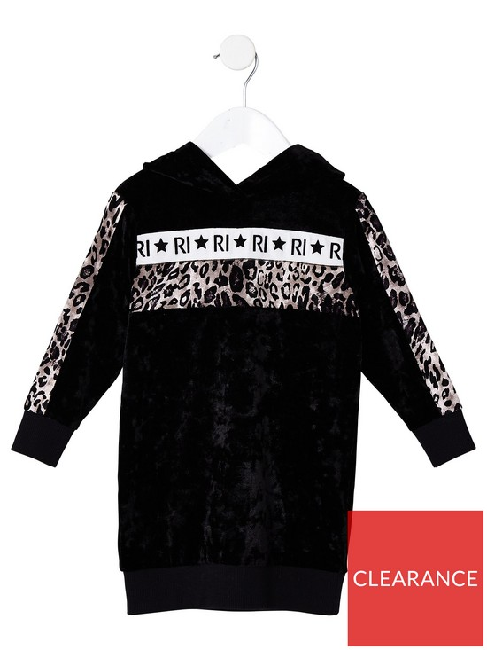 2522413a148e River Island Mini Girls black RI velvet sweat dress