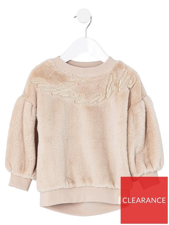 f36dcfbd4 River Island Mini Girls Cream Faux Fur Sweater