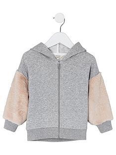 river-island-mini-mini-kids-faux-fur-sleeve-hoodie