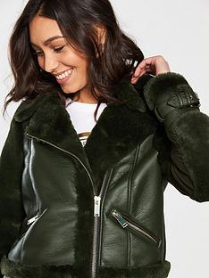 river-island-faux-fur-aviator-jacket-dark-green