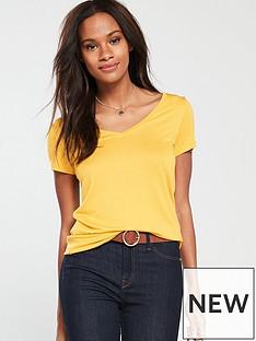 v-by-very-premium-v-neck-top-mustard