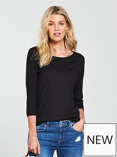 v-by-very-three-quarter-sleeve-perfect-t-shirt-black