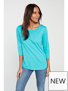 v-by-very-three-quarter-sleeve-perfect-t-shirtnbsp--turquoise