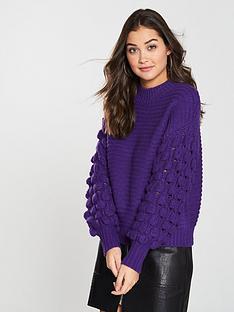 river-island-bobble-sleeve-jumper-purple