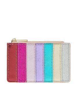 Accessorize Accessorize Glitter Rainbow Stripe Shoreditch Card Holder