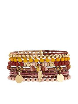 accessorize-10xnbspmocha-eclectic-stretch-pack-bracelets-yellow