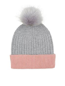 Accessorize Accessorize Contrast Turn Up Pom Beanie Hat