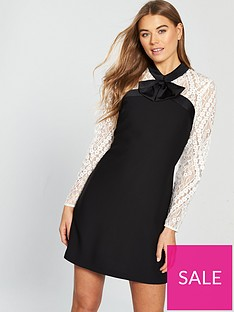 cdcb0483e2b V by Very Bow Detail Lace Tunic Dress - Monochrome | very.co.uk