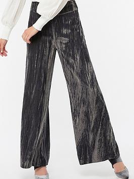 Monsoon Chitra Crinkle Velvet Wide Leg Trouser - Grey