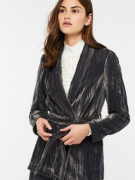 Monsoon Chitra Crinkle Velvet Tie Jacket - Grey