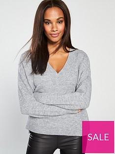 whistles-oversized-slouchy-v-neck-knitted-jumper-grey