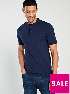 v-by-very-short-sleeved-knitted-polo-navy