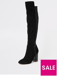 d2bcca22f6c River Island River Island Contrast Heel Over The Knee Boot - Black