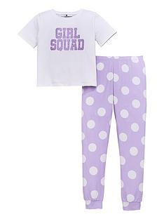v-by-very-girls-squad-glitternbspslogan-polka-dot-pyjamas-multi