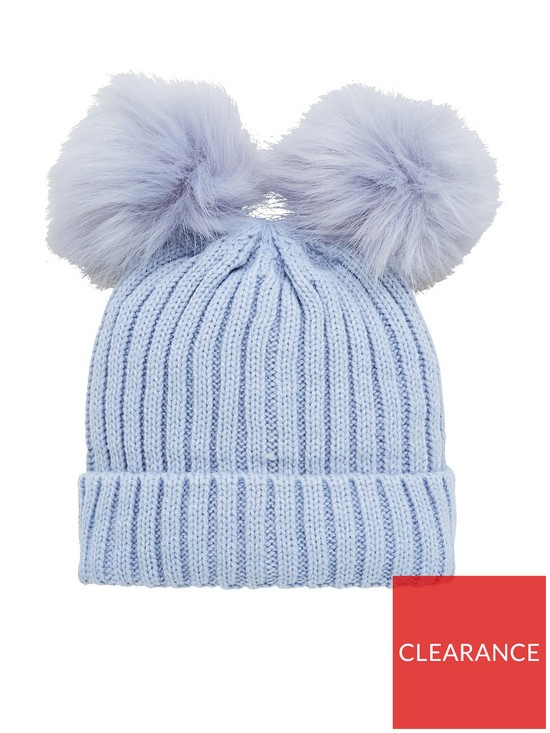 df66ccde479 V by Very Baby Boys Double Pom Pom Hat - Baby Blue