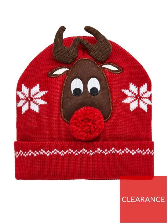 c685c79ba34f9 V by Very Girls 3D Pom Pom Reindeer Christmas Hat - Multi