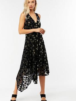 Monsoon Divya Spot Devore Dress - Black