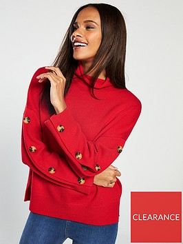 whistles-button-sleeve-funnel-neck-knit