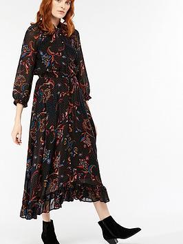 Monsoon Akisa Print Hanky Hem Midi Dress - Black