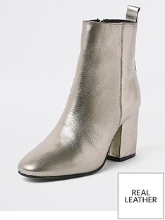 river-island-river-island-leather-heeled-ankle-boot-gold