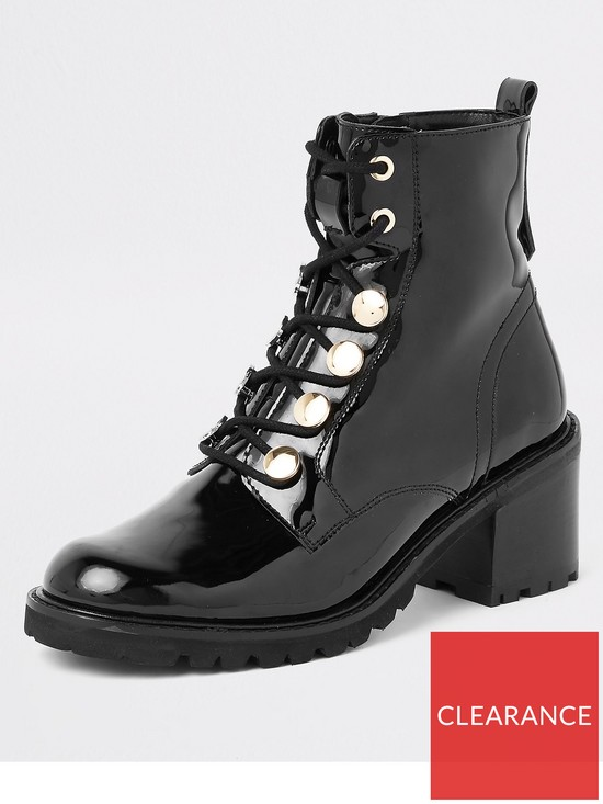 ce7179598efc River Island Patent Lace Up Boot - Black